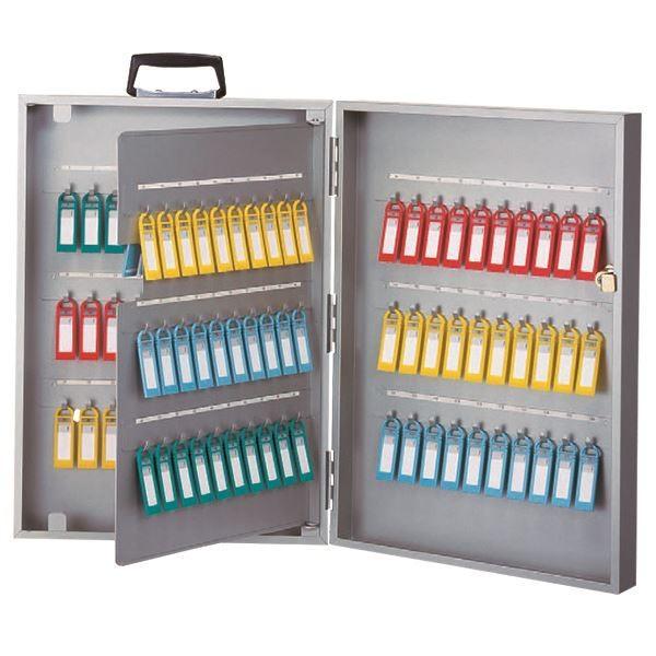 キーボックス鍵保管箱 (120個吊) (120個吊) H495mm×W350mm×D90mm スチール製 キーホルダー付き (ホテル 銀行 病院)