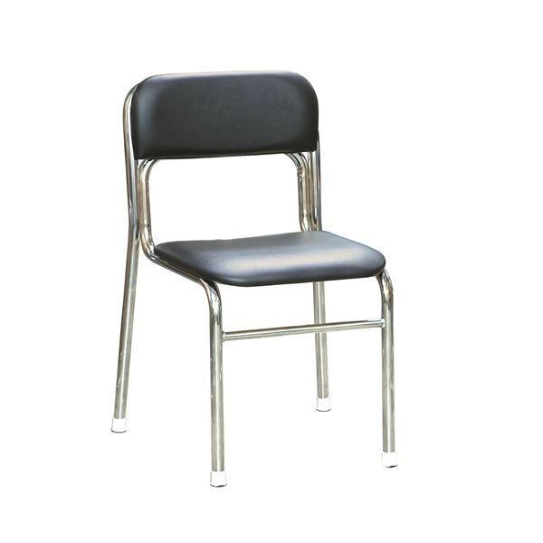 オフィス家具 | 軽量 スタッキングチェア (5脚セット ブラック×クロムメッキ 幅45cm 重さ4.5kg) 日本製 防汚仕様 スチール 『リブラ チェア』