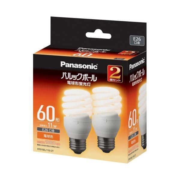 家電   パナソニック パルックボール D形 60W形 E26 電球色 EFD15EL11E2T 1パック(2個) (×5)