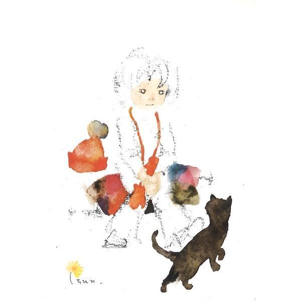 絵画 | ちひろ額装 壁掛け額 白いフレーム いわさきちひろ 絵画額 黒い猫と少女|arinkurin2|02