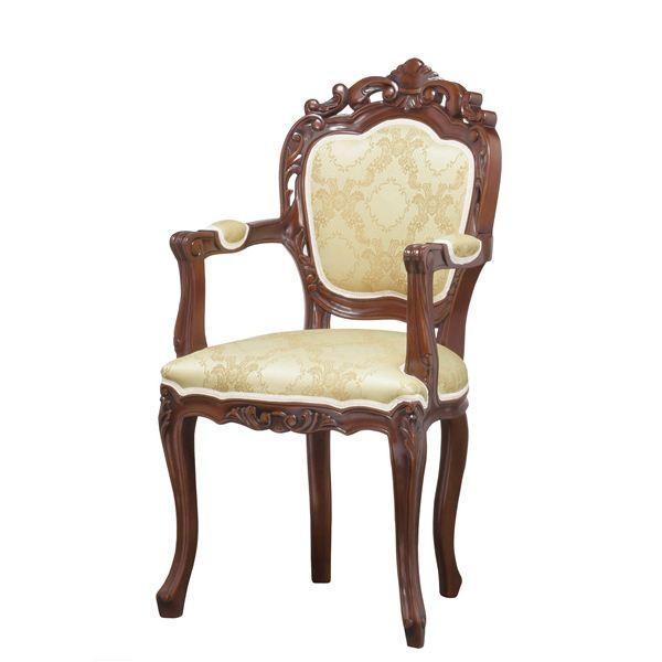 椅子 | アンティーク調猫足ダイニングチェア (肘付き) 木製 『フランシスカ』 ブラウン ブラウン (完成品)