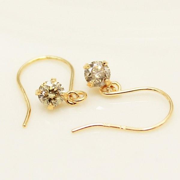 ファッション ダイヤモンド | 18金0.2ctブラウンダイヤモンドショートフックピアス, ギガメディア 193055ce