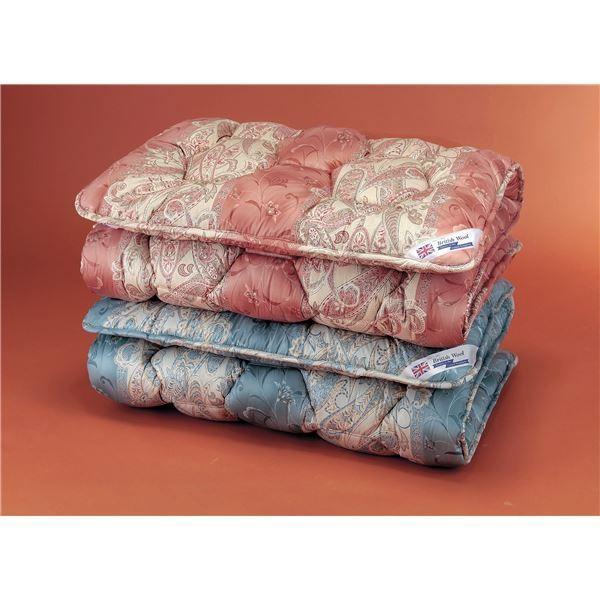 布団セット | 敷布団 (セミダブル)英国羊毛(ステッキマークゴールドラベル)中央増量敷き布団 ピンク (抗菌防臭加工)