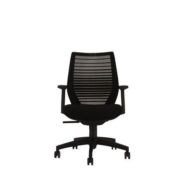 パソコンチェア | | 座面昇降式オフィスチェアデスクチェア (肘付き×ブラック) メッシュ素材 リクライニング キャスター付き 『ビートル』
