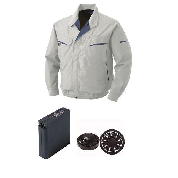 作業着 | 空調服 綿・ポリ混紡ワーク空調服 大容量バッテリーセット ファンカラー:ブラック 0470B22C06S6 (カラー:シルバー サイズ:4L )