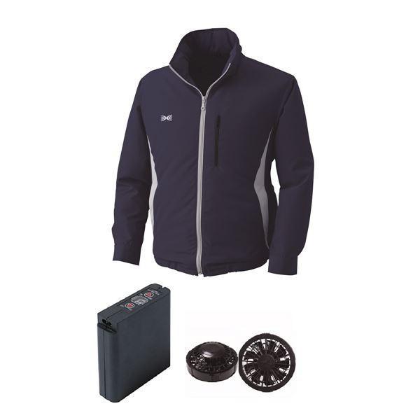 作業着 | 空調服 フード付ポリエステル製空調服 大容量バッテリーセット ファンカラー:ブラック 0520B22C03S4 (カラー:ネイビー サイズ:2L )