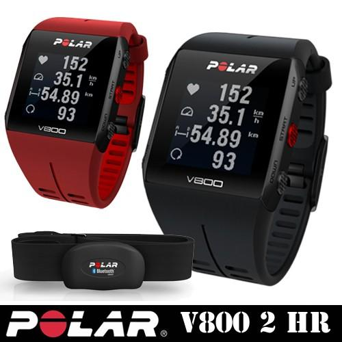 POLAR GPSマルチスポーツ ウォッチ 心拍センサーセット「V800 2 HR(ブラック/レッド)」