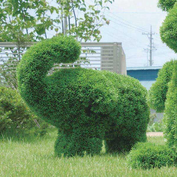 人工観葉植物 動物型 アニマル 象 ガーデン トピアリー アートグリーン ゾウL 高さ74cm(Lサイズ)