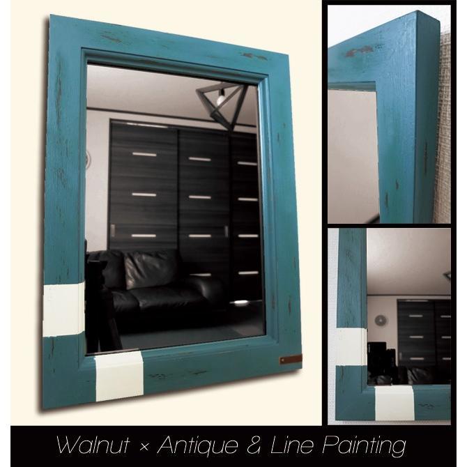 アンティーク加工 デザイン ミラー 鏡 Mサイズ ウォルナット×緑青色×ライン フレーム