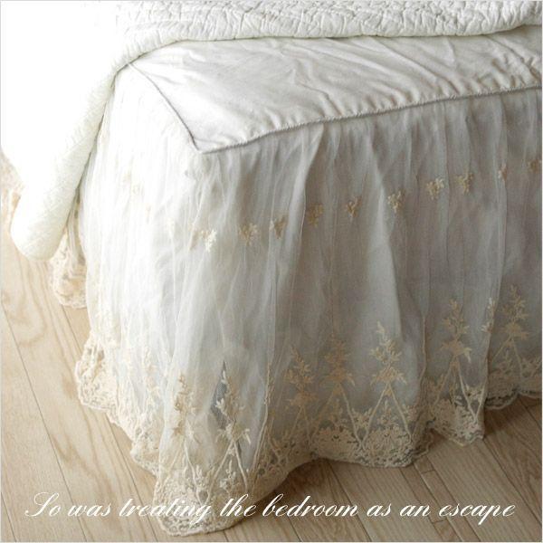 ビンテージレース ベッドスカート クイーン フリル45cm 日本サイズ用