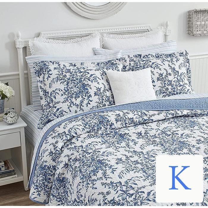 ベッドカバー おしゃれ キング 3点セット ローラアシュレイ ブルーフラワーベッド キルト ベッドスプレッド 花柄 花柄