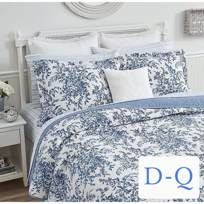 ベッドカバー ダブル クイーン 3点セット ローラアシュレイ ブルーフラワーベッドキルト ブルーフラワーベッドキルト ベッドスプレッド 花柄