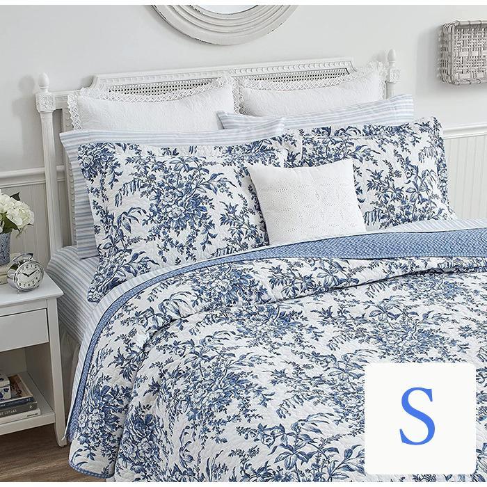 ベッドカバー シングル 2点セット ローラアシュレイ ブルーフラワーベッドキルト ベッドスプレッド 花柄