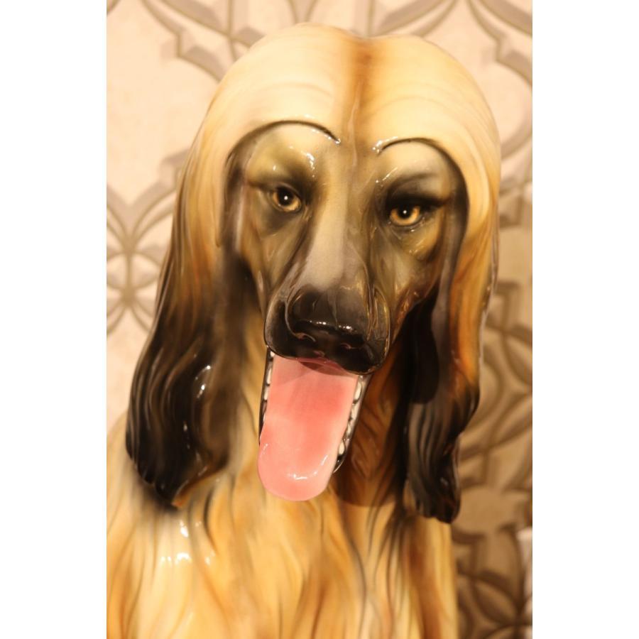 イタリア製 陶器 犬 アフガン ハウンド 玄関置物 インテリア陶器 :127 ...