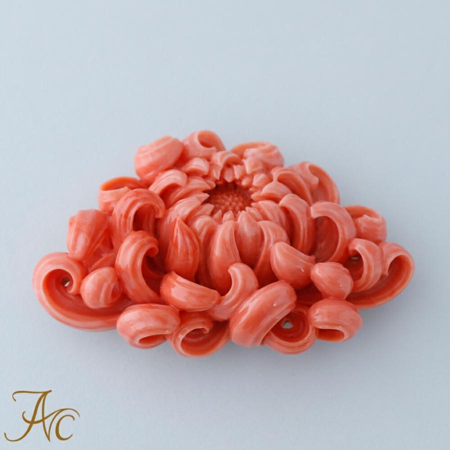 桃珊瑚 乱菊 K18帯留め 晩仙 作