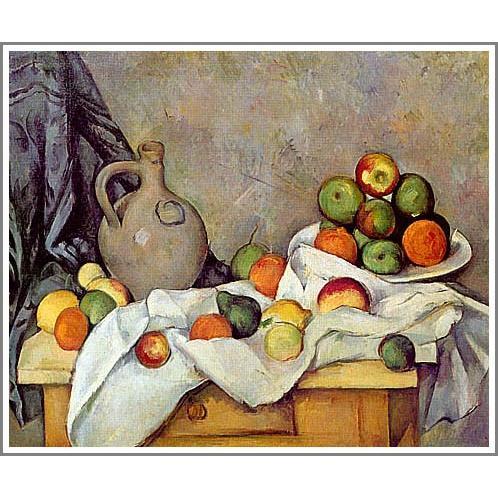 【送料無料】絵画:ポール・セザンヌ「カーテン、水差し、そして果物鉢」●サイズF6(41.0×31.8cm)●絵画(油絵複製画)オーダーメイド制作