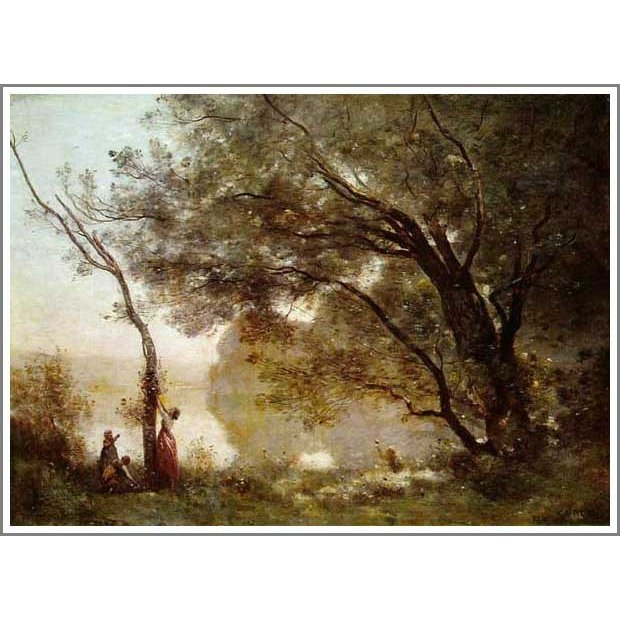 複製画 送料無料 絵画 油彩画 油絵 模写カミーユ・コロー「モントフォンテーヌの想い出」F12(60.6×50.0cm)プレゼント 贈り物 名画 オーダーメイド 額付き 直筆