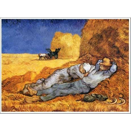 複製画 送料無料 絵画 油彩画 油絵 模写フィンセント・ファン・ゴッホ「昼寝」F12(60.6×50.0cm)プレゼント 贈り物 名画 オーダーメイド 額付き 直筆