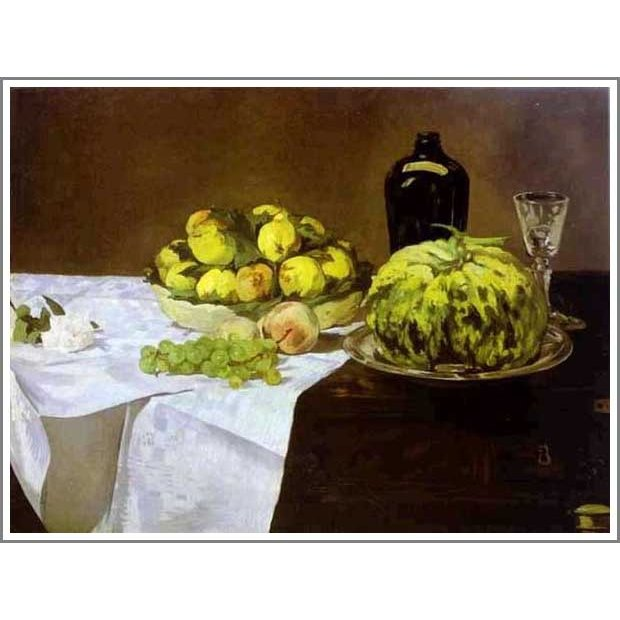 複製画 送料無料 絵画 油彩画 油絵 模写エドゥアール・マネ「メロンと桃による静物」F8(45.5×38.0cm)プレゼント 贈り物 名画 オーダーメイド 額付き 直筆