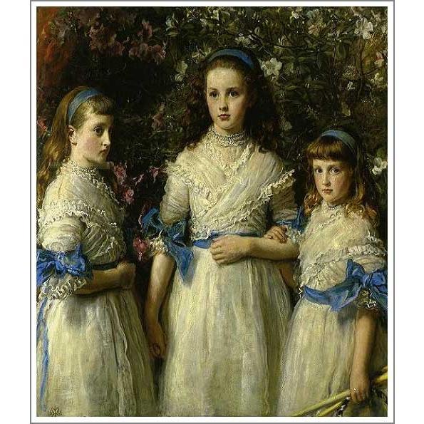 複製画 送料無料 絵画 油彩画 油絵 模写ミレイ「姉妹たち」F40(100×80.3cm)プレゼント 贈り物 名画 オーダーメイド 額付き 直筆