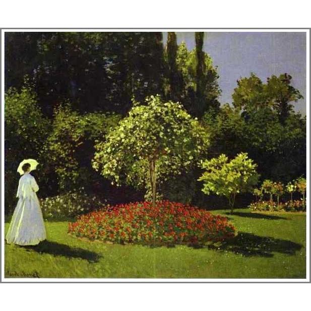 複製画 送料無料 絵画 油彩画 油絵 模写クロード・モネ「サンタドレスの庭」F12(60.6×50.0cm)プレゼント 贈り物 名画 オーダーメイド 額付き 直筆
