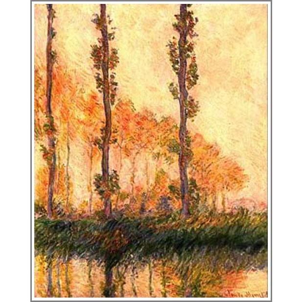 複製画 送料無料 絵画 油彩画 油絵 模写クロード・モネ「ポプラ並木」F12(60.6×50.0cm)プレゼント 贈り物 名画 オーダーメイド 額付き 直筆