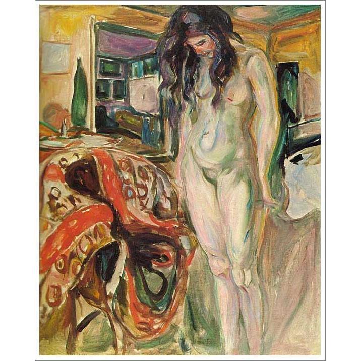複製画 送料無料 絵画 油彩画 油絵 模写エドヴァルド・ムンク「籐椅子の傍のモデル」F10(53.0×45.5cm)プレゼント 贈り物 名画 オーダーメイド 額付き 直筆