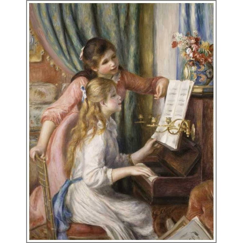 複製画 送料無料 絵画 油彩画 油絵 模写ルノアール(ルノワール)「ピアノに寄る娘たち」F8(45.5×38.0cm)プレゼント 贈り物 名画 オーダーメイド 額付き 直筆