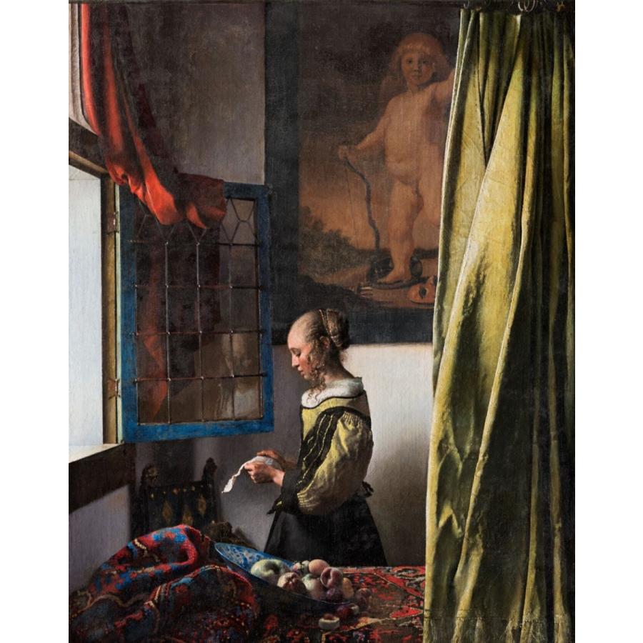 複製画 送料無料 絵画 フェルメール展 油絵 模写 フェルメール「窓辺で手紙を読む女」F20(72.7×60.6cm)プレゼント 贈り物 名画 オーダーメイド 額付き 直筆