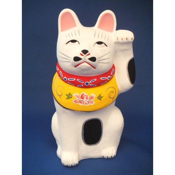 中山土人形 招き猫・白 …「開運」・「金運」共に上向きます様に…