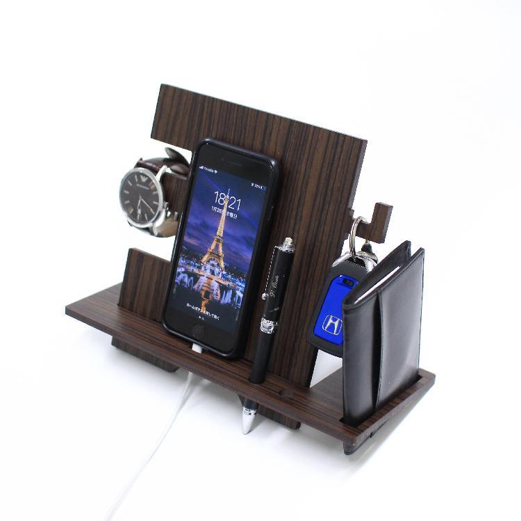 木製 スマホ スタンド おすすめ iPhone Android 鍵かけ 名刺ケース 腕時計 収納 ペン 雑貨 インテリア  おしゃれ デスク 木目調 MDF 小物入れ|art-ya