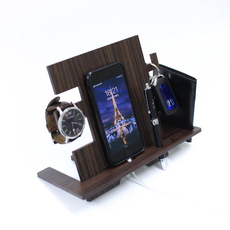 木製 スマホ スタンド おすすめ iPhone Android 鍵かけ 名刺ケース 腕時計 収納 ペン 雑貨 インテリア  おしゃれ デスク 木目調 MDF 小物入れ|art-ya|02