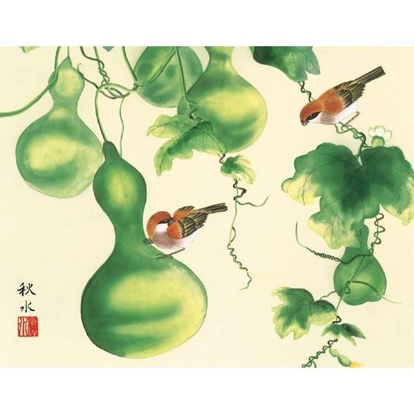 絵画 日本画 六瓢・浮田秋水 吉祥画 和装額 和額 和室インテリア art1 02