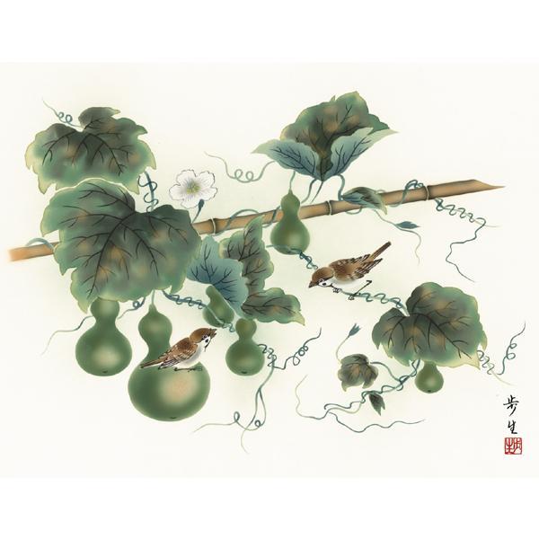 絵画 日本画 六瓢・北山歩生 吉祥画 和装額 和額 和室インテリ|art1|02