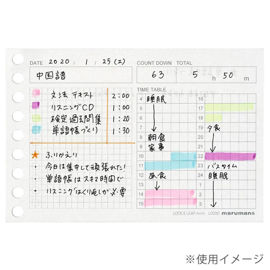 ルーズリーフ 書きやすいルーズリーフ タイムプランニング ミニ B7変形 9穴 50枚 L1438 マルマン (DM便 ネコポス2点まで) artandpaperm 05