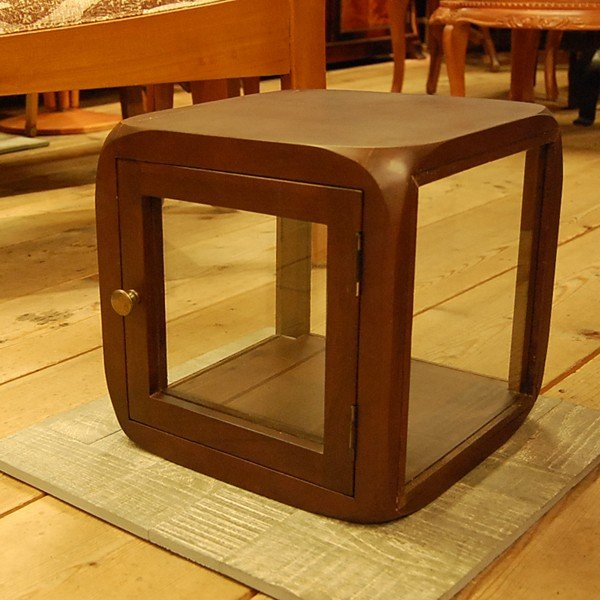 キューブガラスケース コレクションケース サイコロ家具 サイドテーブル チーク無垢材 天然木 ディスプレイケース オリジナル家具 インドネシア直輸入|artcrew