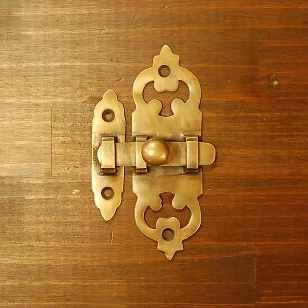 ブラス錠前 ロックパーツ ホック 真鍮金具 インドネシア直輸入 インテリアパーツ 古色仕上げ DIY 家具部品 住まいづくり 扉金具|artcrew