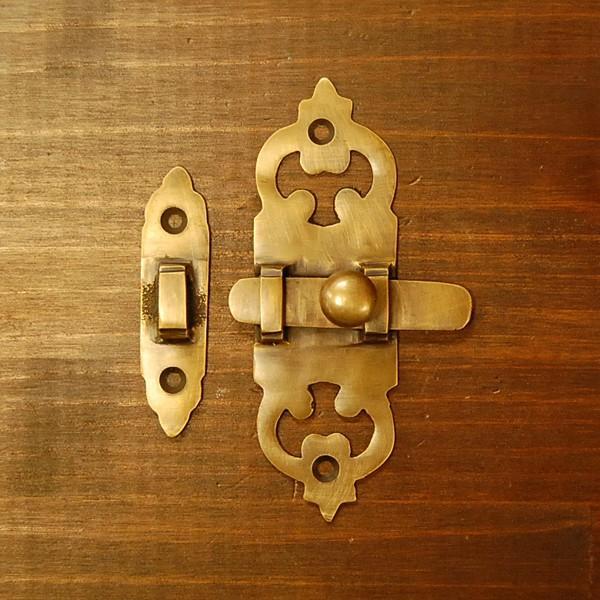 ブラス錠前 ロックパーツ ホック 真鍮金具 インドネシア直輸入 インテリアパーツ 古色仕上げ DIY 家具部品 住まいづくり 扉金具|artcrew|02