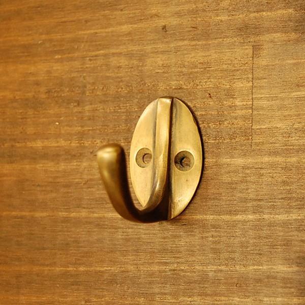 真鍮フック ブラス 洋服掛け 帽子掛け カバン掛け 玄関 インテリアパーツ 古色仕上げ  DIY 修理  アンティーク仕上げ 家具部品 インドネシア直輸入|artcrew
