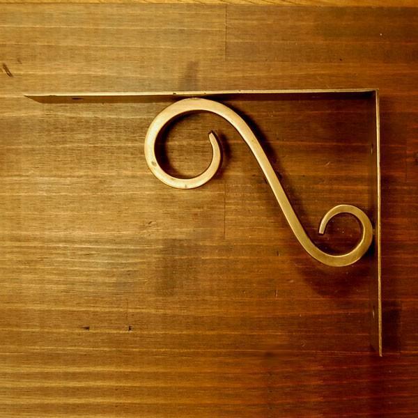 ブラスブラケット 真鍮棚受 インドネシア直輸入 インテリアパーツ 古色仕上げ DIY アンティーク仕上げ おしゃれ|artcrew