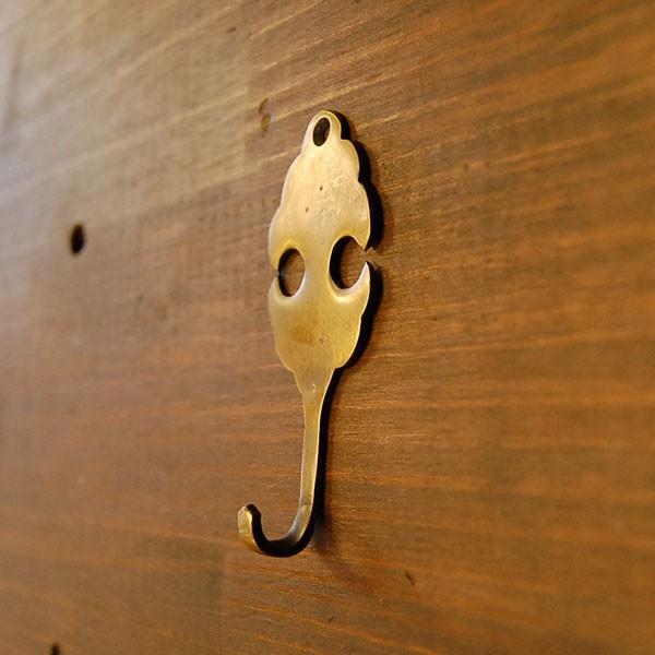 真鍮フック ブラス キーフック 鍵掛け 帽子掛け カバン掛け 玄関 インテリアパーツ 古色仕上げ  DIY 修理  アンティーク仕上げ 家具部品 インドネシア直輸入|artcrew