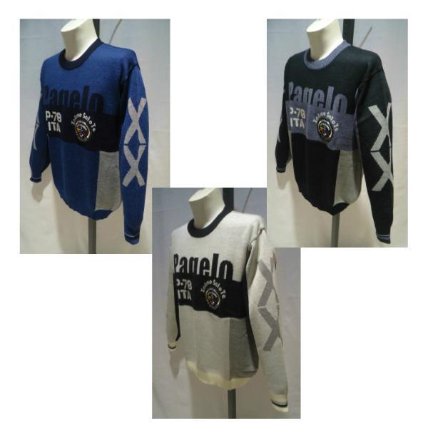 PAGELO /秋冬/21新作/50%OFF/デザイン セーター/3Lサイズ(オリジナル)黒系・白系・紺系/日本製/大きいサイズ/エンブレム/1点限り|artigiano-uomo|04