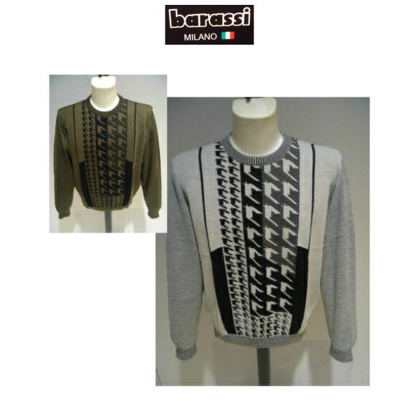 barassi /秋冬/30%OFF/デザイン セーター/52 (3L) 別注サイズ/ホワイト・ブラウン/日本製/大きいサイズ/現品限り|artigiano-uomo