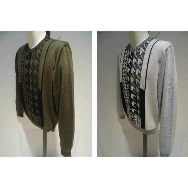 barassi /秋冬/30%OFF/デザイン セーター/52 (3L) 別注サイズ/ホワイト・ブラウン/日本製/大きいサイズ/現品限り|artigiano-uomo|04