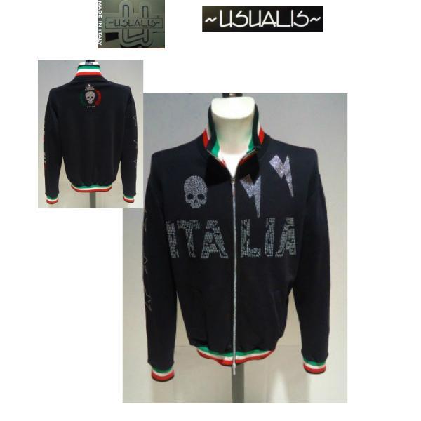 USUALIS<ウザリス>20%OFF/トラックジャケット(ラインストーントップス)XXL(3L) 別注サイズ/ブラック/イタリア製/大きいサイズ/ALLシーズン現品限り|artigiano-uomo
