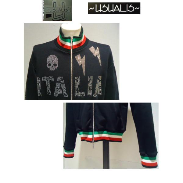 USUALIS<ウザリス>20%OFF/トラックジャケット(ラインストーントップス)XXL(3L) 別注サイズ/ブラック/イタリア製/大きいサイズ/ALLシーズン現品限り|artigiano-uomo|02