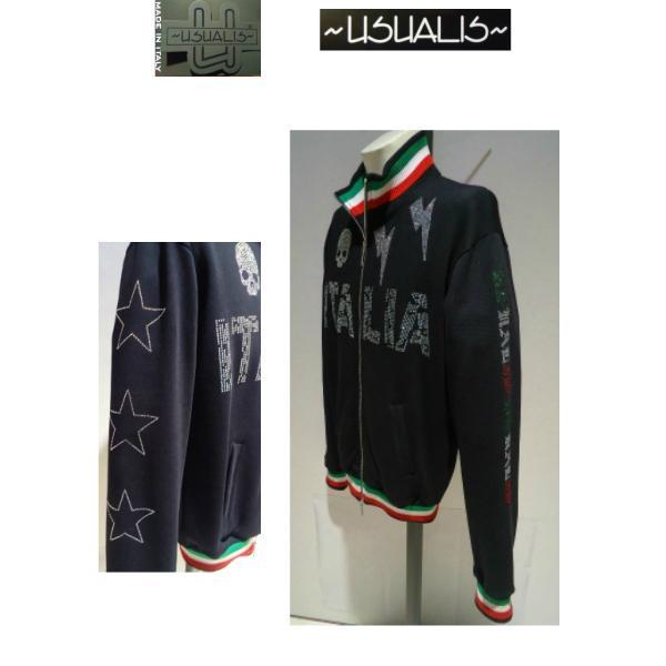 USUALIS<ウザリス>20%OFF/トラックジャケット(ラインストーントップス)XXL(3L) 別注サイズ/ブラック/イタリア製/大きいサイズ/ALLシーズン現品限り|artigiano-uomo|03