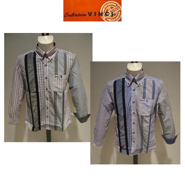 VINCI<ビンチ>21新/春夏/50%OFF/デザイン ボタンダウンシャツ/50・48・46 サイズ/ブルー・ブラック/綿100%/切り替えしデザイン/人気モデル|artigiano-uomo