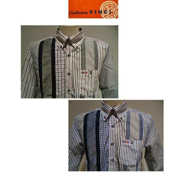 VINCI<ビンチ>21新/春夏/50%OFF/デザイン ボタンダウンシャツ/50・48・46 サイズ/ブルー・ブラック/綿100%/切り替えしデザイン/人気モデル|artigiano-uomo|02