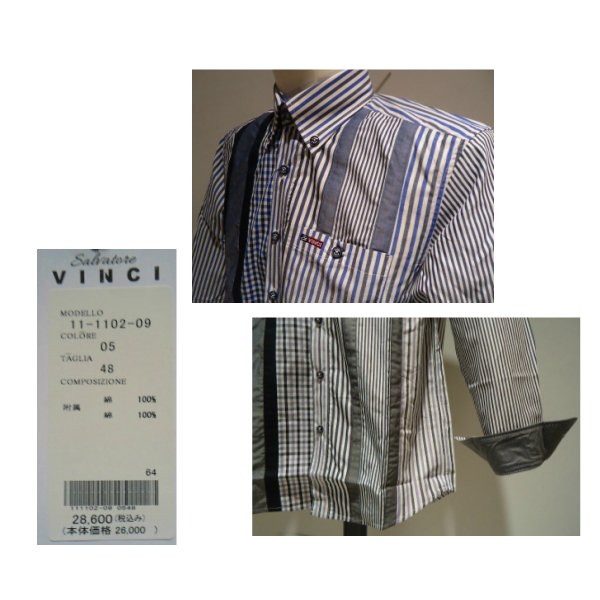 VINCI<ビンチ>21新/春夏/50%OFF/デザイン ボタンダウンシャツ/50・48・46 サイズ/ブルー・ブラック/綿100%/切り替えしデザイン/人気モデル|artigiano-uomo|05